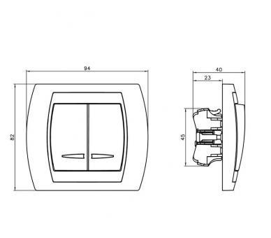 Łącznik dwugrupowy świecznikowy z podświetleniem niebieskim srebro/tytan Gazela ŁP-2JS/m/18/23