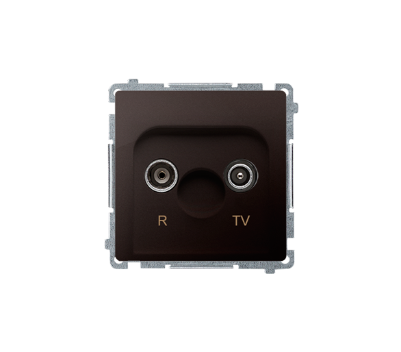 Gniazdo antenowe R-TV przelotowe tłum.:10dB czekoladowy mat, metalizowany BMZAP10/1.01/47