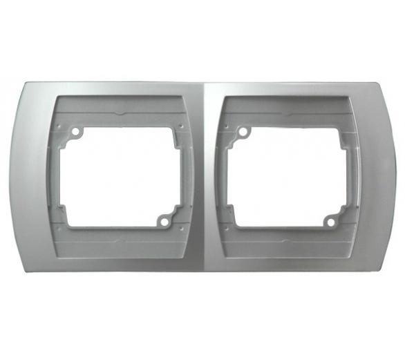 Ramka podwójna pozioma srebro/tytan Gazela R-2JH/18