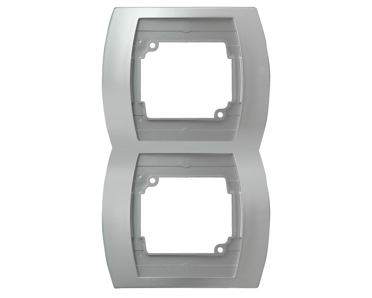 Ramka podwójna pionowa srebro/tytan Gazela R-2JV/18