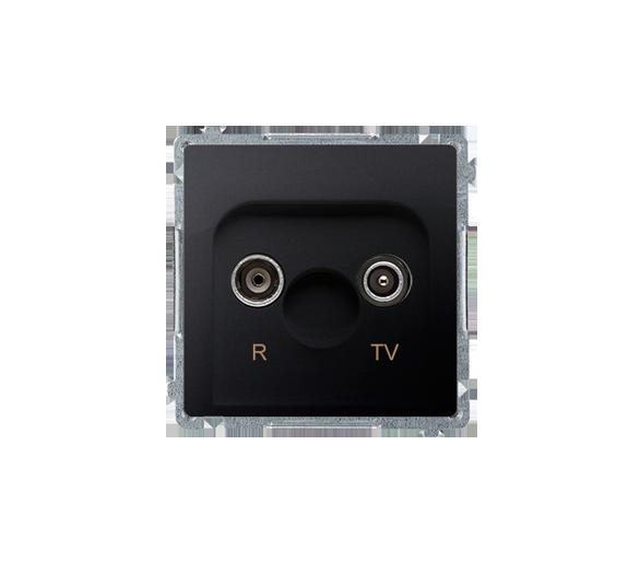 Gniazdo antenowe R-TV przelotowe tłum.:10dB grafit mat, metalizowany BMZAP10/1.01/28