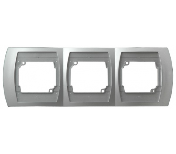 Ramka potrójna pozioma srebro/tytan Gazela R-3JH/18