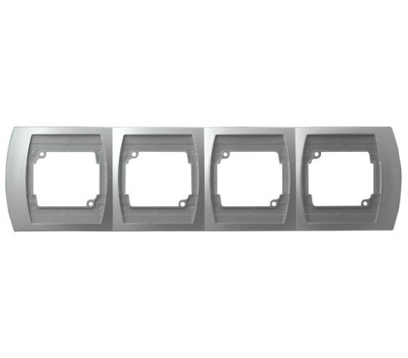 Ramka poczwórna pozioma srebro/tytan Gazela R-4JH/18