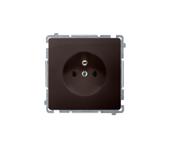 Gniazdo wtyczkowe pojedyncze z uziemieniem czekoladowy mat, metalizowany 16A BMGZ1.01/47