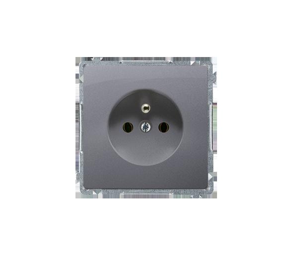 Gniazdo wtyczkowe pojedyncze z uziemieniem srebrny mat, metalizowany 16A BMGZ1.01/43