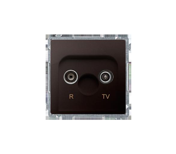 Gniazdo antenowe R-TV końcowe separowane tłum.:1dB czekoladowy mat, metalizowany BMZAR1/1.01/47