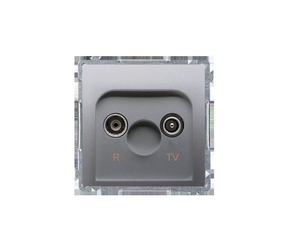 Gniazdo antenowe R-TV przelotowe tłum.:10dB srebrny mat, metalizowany BMZAP10/1.01/43