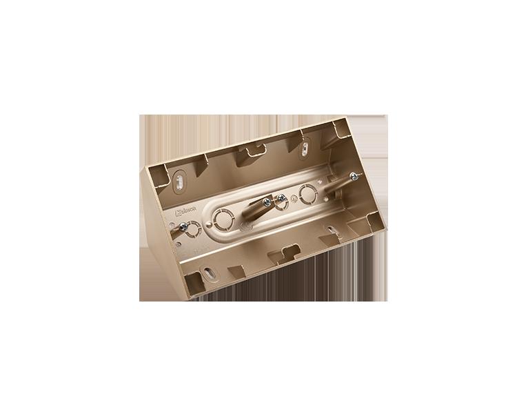 Puszka natynkowa narożna 2-krotna złoty mat, metalizowany DPNR2/44
