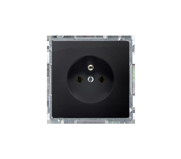 Gniazdo wtyczkowe pojedyncze z uziemieniem grafit mat, metalizowany 16A BMGZ1.01/28