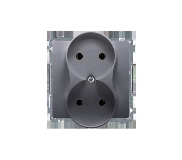 Gniazdo wtyczkowe podwójne bez uziemienia srebrny mat, metalizowany 16A BMG2M.01/43