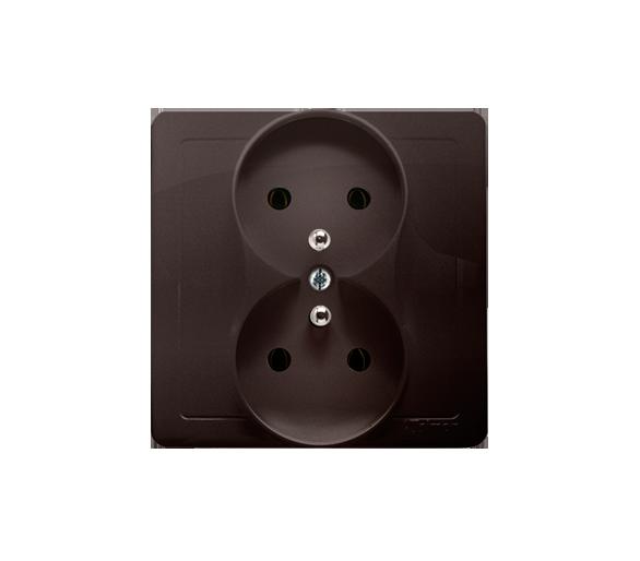 Gniazdo wtyczkowe podwójne z uziemieniem czekoladowy mat, metalizowany 16A BMGZ2/47