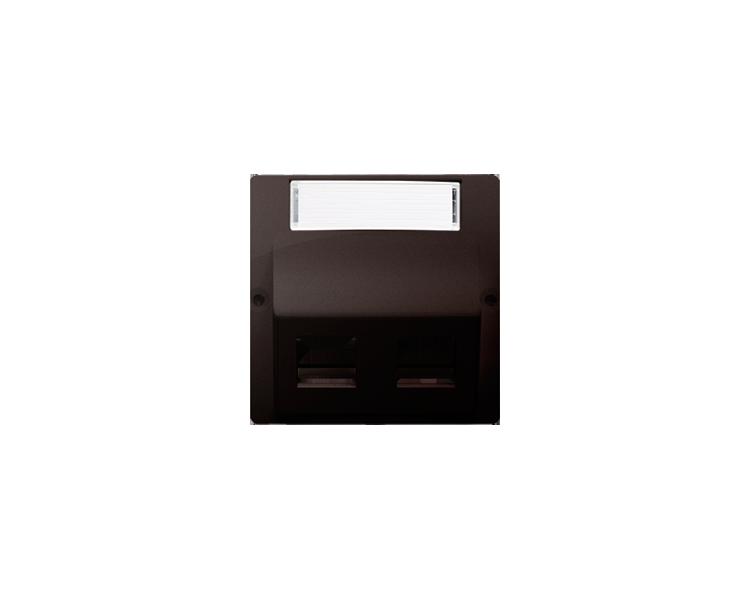 Pokrywa gniazd teleinformatycznych na Keystone skośna podwójna z polem opisowym czekoladowy mat, metalizowany BMGKS2P.01/47