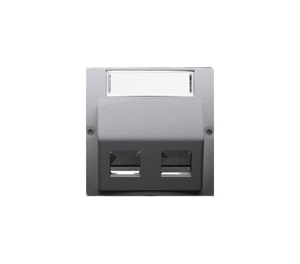 Pokrywa gniazd teleinformatycznych na Keystone skośna podwójna z polem opisowym srebrny mat, metalizowany BMGKS2P.01/43