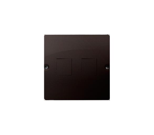 Pokrywa gniazd teleinformatycznych na Keystone płaska podwójna czekoladowy mat, metalizowany BMGK1P/47