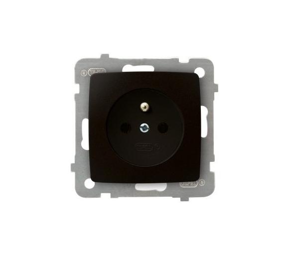 Gniazdo pojedyncze z uziemieniem czekoladowy metalik Karo GP-1SZ/m/40
