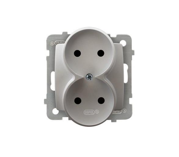 Gniazdo podwójne moduł bez ramki srebrny perłowy Karo GP-2SR/m/43