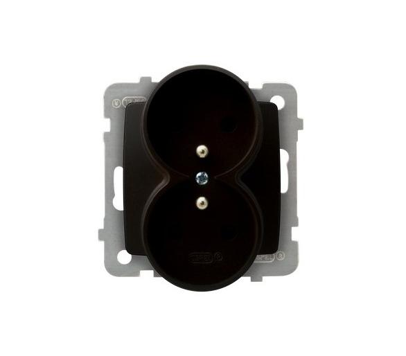 Gniazdo podwójne z uziemieniem moduł bez ramki czekoladowy metalik Karo GP-2SRZ/m/40