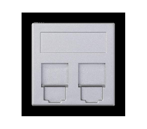 Plakietka teleinformatyczna SIMON 500 keystone podwójna płaska uniwersalna z osłonami 50×50mm aluminium 50000089-033