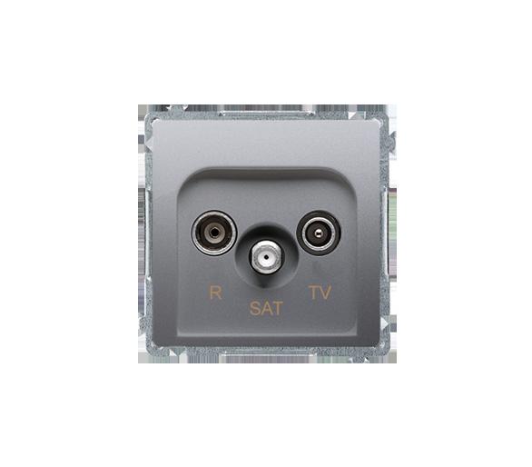 Gniazdo antenowe R-TV-SAT przelotowe tłum.:10dB srebrny mat, metalizowany BMZAR-SAT10/P.01/43