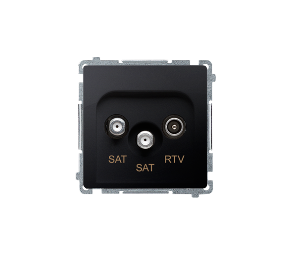 Gniazdo antenowe SAT-SAT-RTV satelitarne podwójne tłum.:1dB grafit mat, metalizowany BMZAR+SAT3.1-P2.01/28
