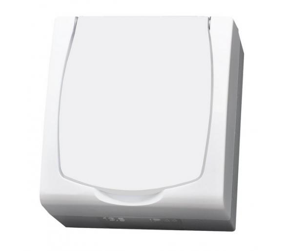 Gniazdo pojedyncze z uziemieniem schuko z przesłonami torów prądowych wieczko w kolorze wyrobu biały Madera GNH-1NSP/00/w