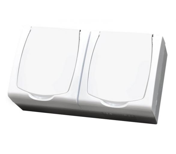 Gniazdo podwójne z uziemieniem schuko z przesłonami torów prądowych wieczko w kolorze wyrobu biały Madera GNH-2NSP/00/w