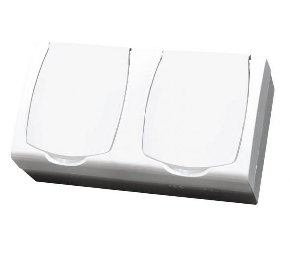 Gniazdo podwójne z uziemieniem z przesłonami torów prądowych wieczko w kolorze wyrobu biały Madera GNH-2NZP/00/w