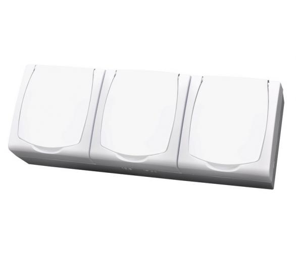 Gniazdo potrójne z uziemieniem wieczko w kolorze wyrobu biały Madera GNH-3NZ/00/w
