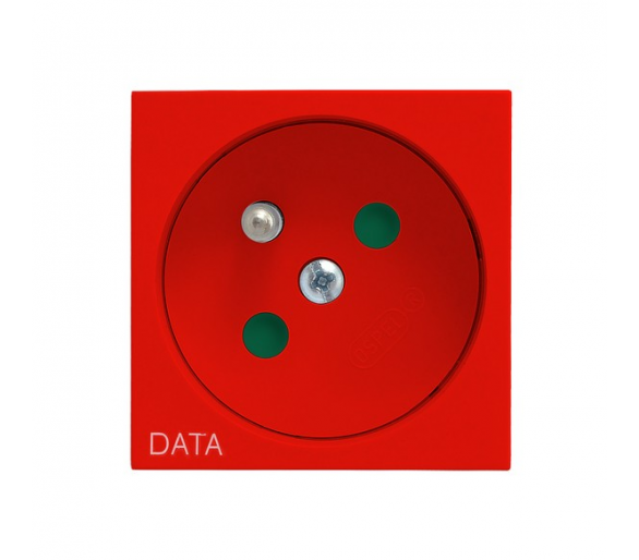 Gniazdo pojedyncze z uziemieniem DATA z przesłonami torów prądowych czerwony Ospel45 GK-1ZDP/22