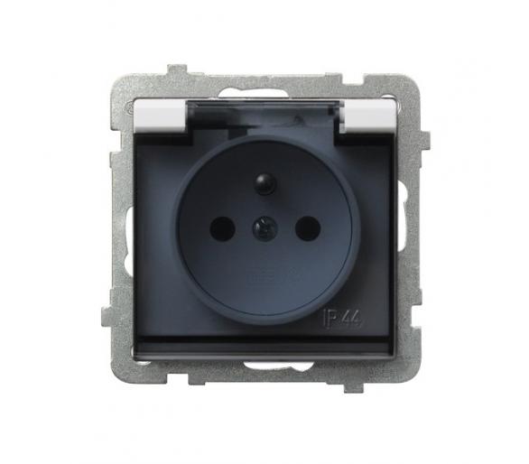 Gniazdo bryzgoszczelne z uziemieniem IP-44 wieczko przezroczyste biały Sonata GPH-1RZ/m/00/d
