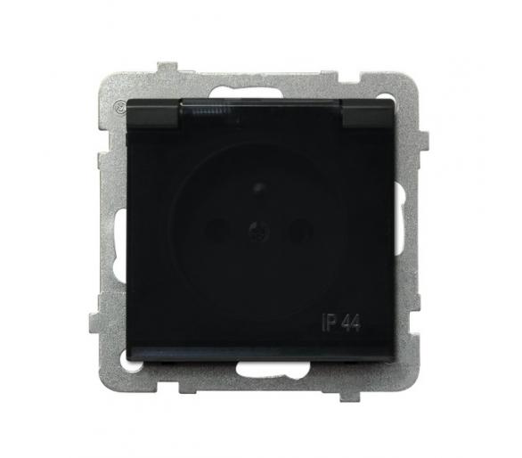Gniazdo bryzgoszczelne z uziemieniem IP-44 wieczko przezroczyste czarny metalik Sonata GPH-1RZ/m/33/d