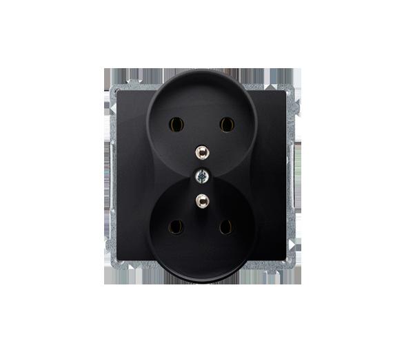 Gniazdo wtyczkowe podwójne z uziemieniem z przesłonami grafit mat, metalizowany 16A BMGZ2MZ.01/28