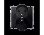 Gniazdo wtyczkowe podwójne z uziemieniem grafit mat, metalizowany 16A BMGZ2M.01/28