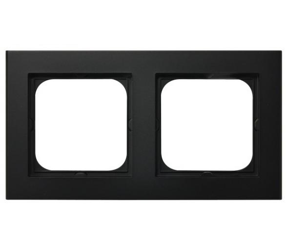 Ramka podwójna czarny metalik Sonata R-2R/33