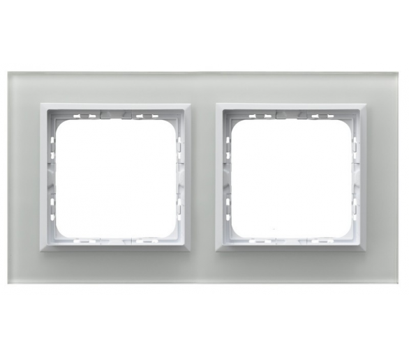 Ramka podwójna białe szkło Sonata R-2RGC/31/00