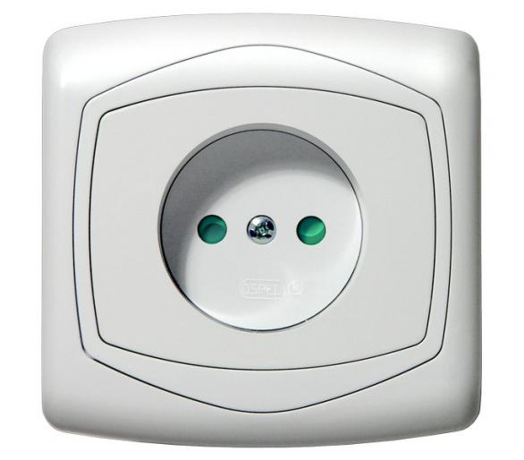 Gniazdo pojedyncze z przesłonami torów prądowych biały Ton GP-1CP/00