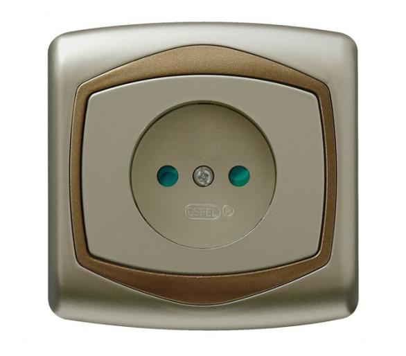 Gniazdo pojedyncze z przesłonami torów prądowych satyna/złoto Ton GP-1CP/16/20