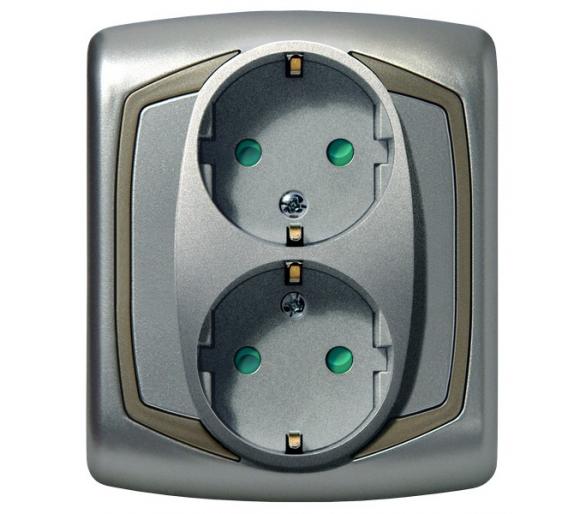 Gniazdo podwójne z uziemieniem schuko z przesłonami torów prądowych srebro/satyna  Ton GP-2CSP/18/16