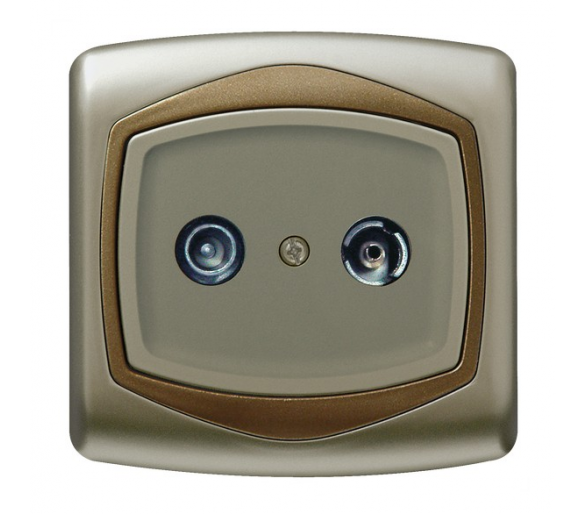 Gniazdo RTV przelotowe 10-dB satyna/złoto Ton GPA-10CP/16/20