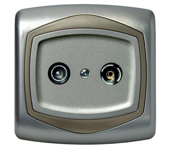 Gniazdo RTV przelotowe 10-dB srebro/satyna  Ton GPA-10CP/18/16
