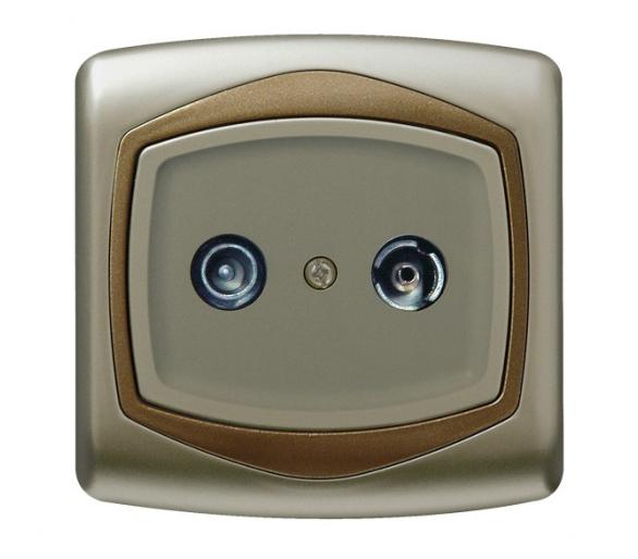 Gniazdo RTV przelotowe 16-dB satyna/złoto Ton GPA-16CP/16/20