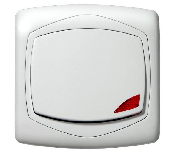 Łącznik jednobiegunowy z podświetleniem pomarańczowym biały Ton ŁP-1CS/00