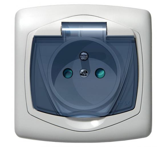 Gniazdo bryzgoszczelne z uziemieniem IP-44 z przesłonami torów prądowych wieczko przezroczyste biały Ton color system GPH-1CZP/m