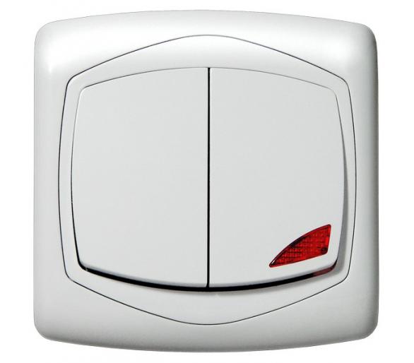 Łącznik dwugrupowy świecznikowy z podświetleniem pomarańczowym biały Ton color system ŁP-2CS/m/00