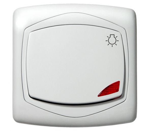 """Łącznik zwierny """"światło"""" z podświetleniem pomarańczowym biały Ton color system ŁP-5CS/m/00"""