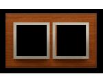 Ramka 2- krotna drewniana złoty orzech DRN2/86
