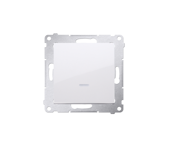 Łącznik jednobiegunowy z podświetleniem LED (moduł) 10AX 250V, szybkozłącza, biały
