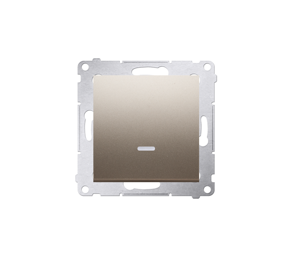 Łącznik jednobiegunowy z podświetleniem LED (moduł) 10AX 250V, szybkozłącza, złoty mat, metalizowany