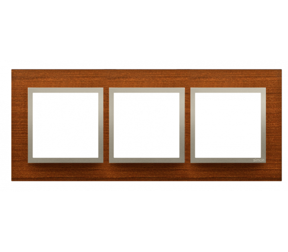 Ramka 3-krotna drewniana złoty orzech DRN3/86