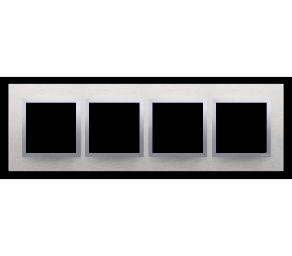 Ramka 4- krotna metalowa inox klasyczny DRN4/77